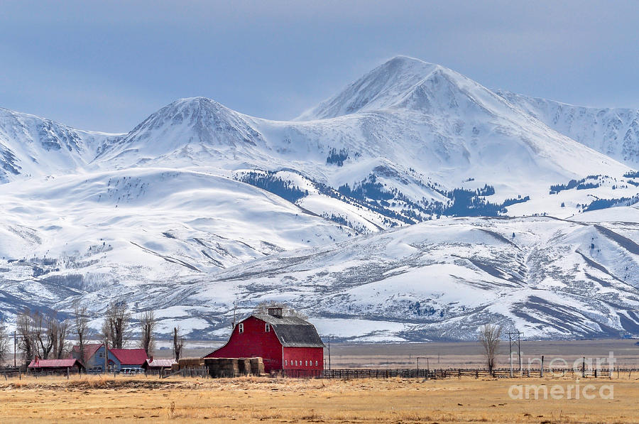 Farmhouse Photograph - Montana Farm Dwarfed By Tall Mountains by Mh Anderson Photography