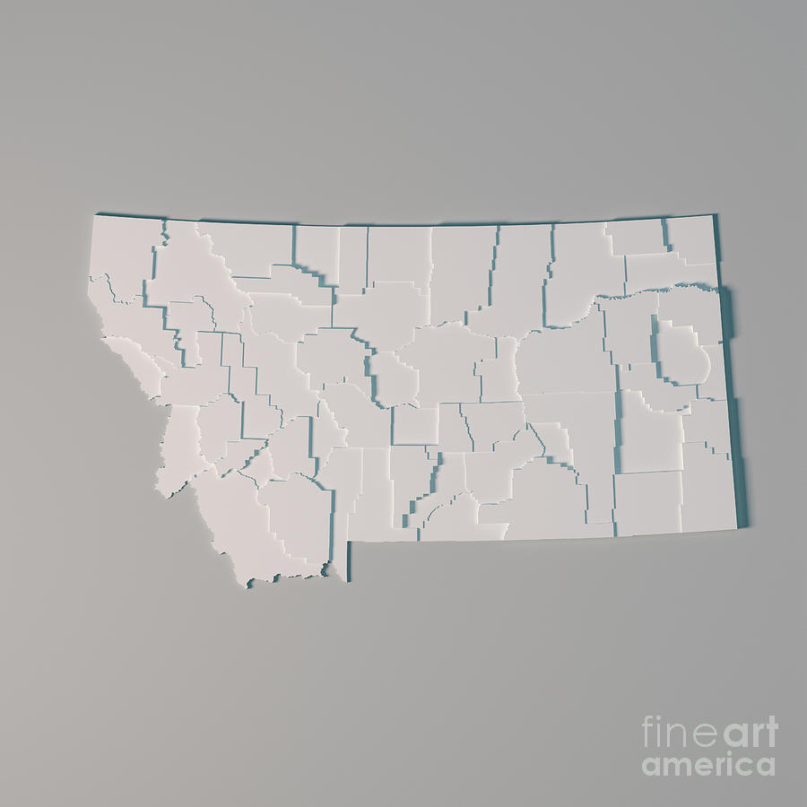 Montana Us State Map Administrative Divisions Counties 3d Render ...