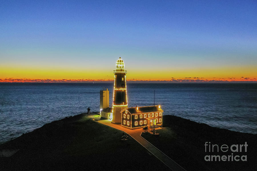 Montauk Lighthouse at Christmas by Sean Mills