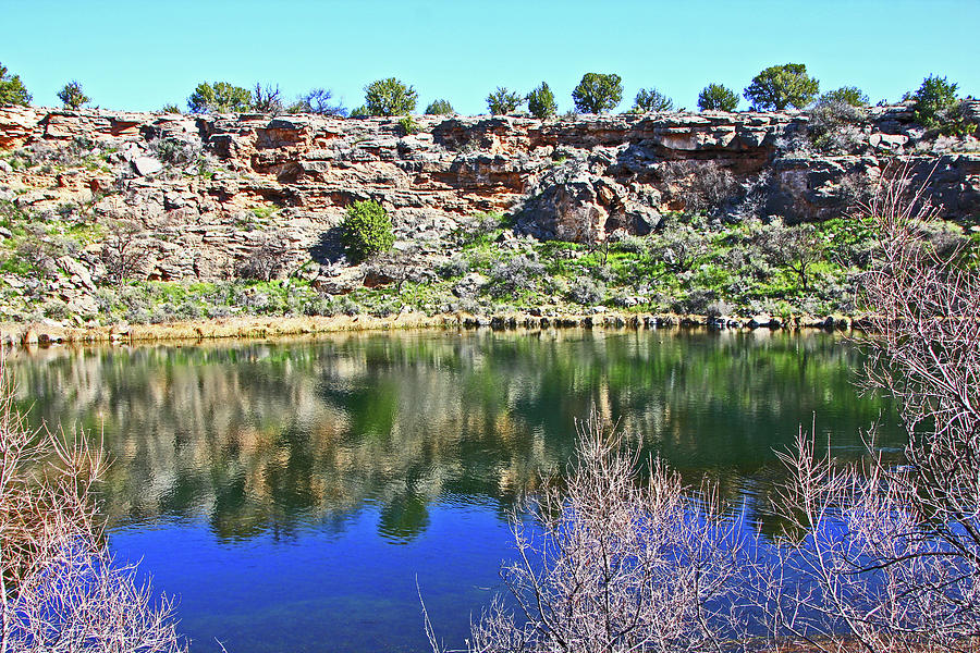 Montezumas Well AZ water blue sky reflections stone wall 3192019 5253. Photograph by David Frederick