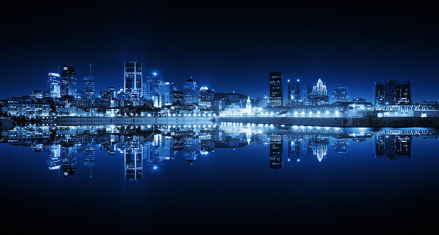 Montreal Cityscape Reflection At Night Photograph by Buzbuzzer