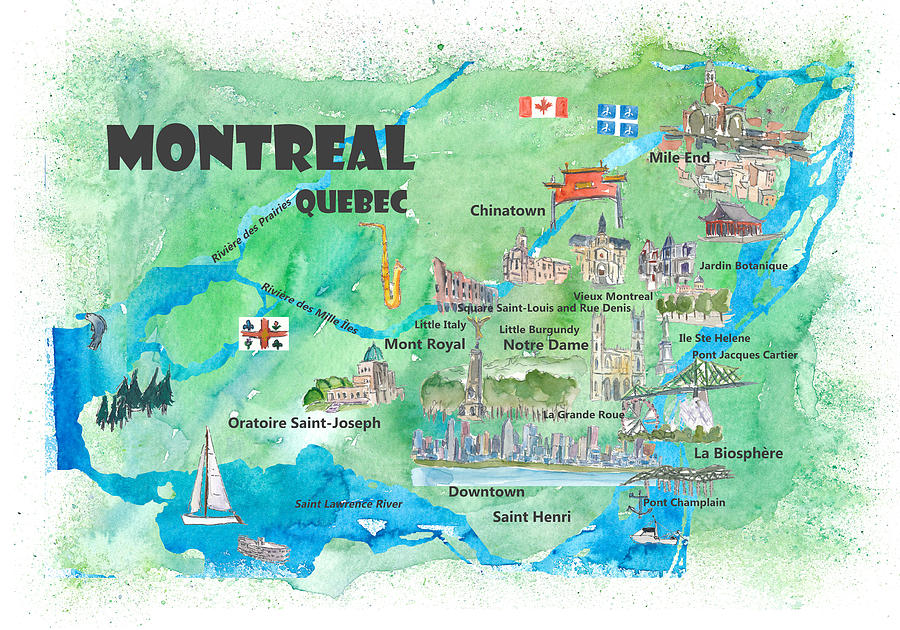 Montreal Qc Canada Map Montreal Quebec Canada Travel Poster Favorite Map Mixed Media