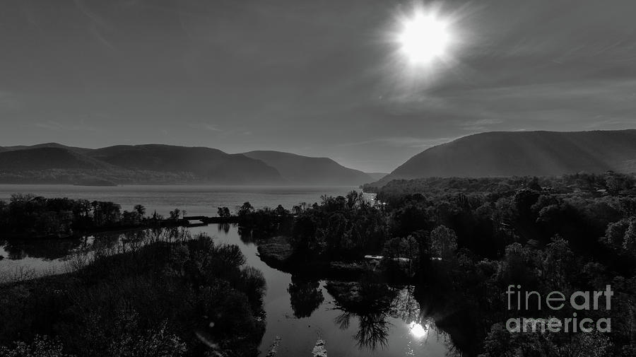 Moodna Creek at the Hudson River in Black and White by Joe Santacroce