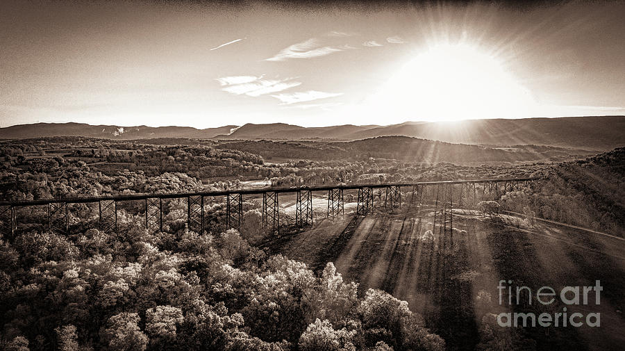 Moodna Viaduct at Sunrise in Black and White by Joe Santacroce