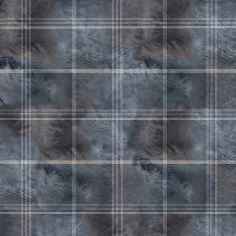 Moody Blue Plaid Digital Art