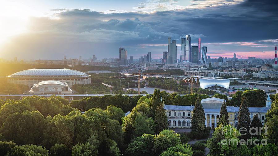 Moody Cityscape Of Moscow – Luzhniki Photograph by Sergey Alimov