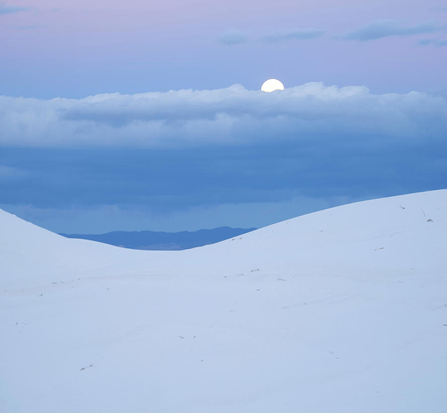 Moon And Dune, White Sands Nm, New Mexico by Tim Fitzharris