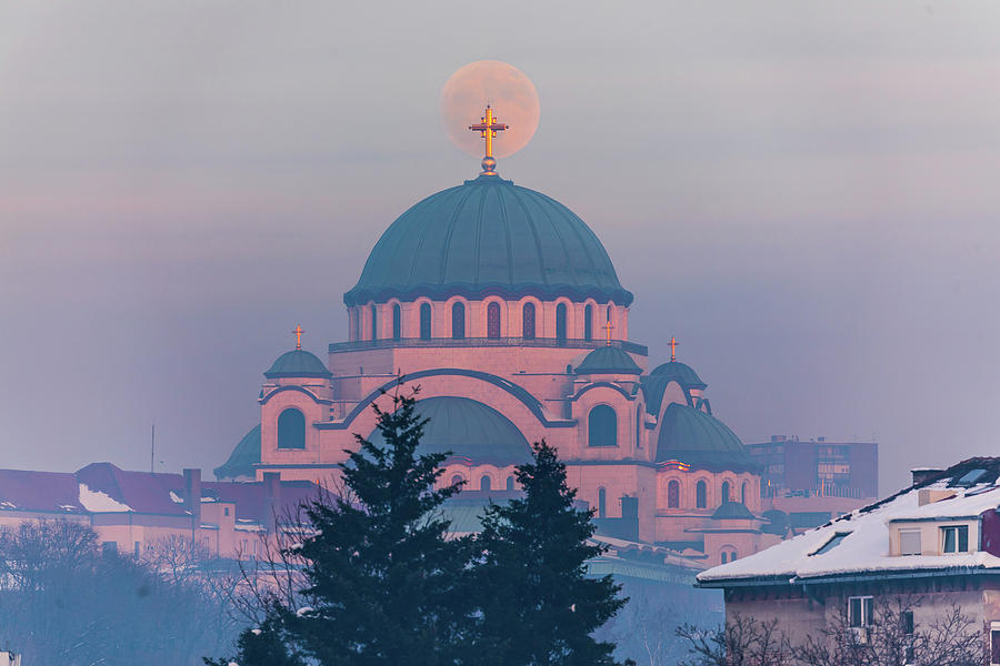 Moon Photograph - Moon in the cross of the magnificent St. Sava Temple in Belgrade by Dejan Kostic