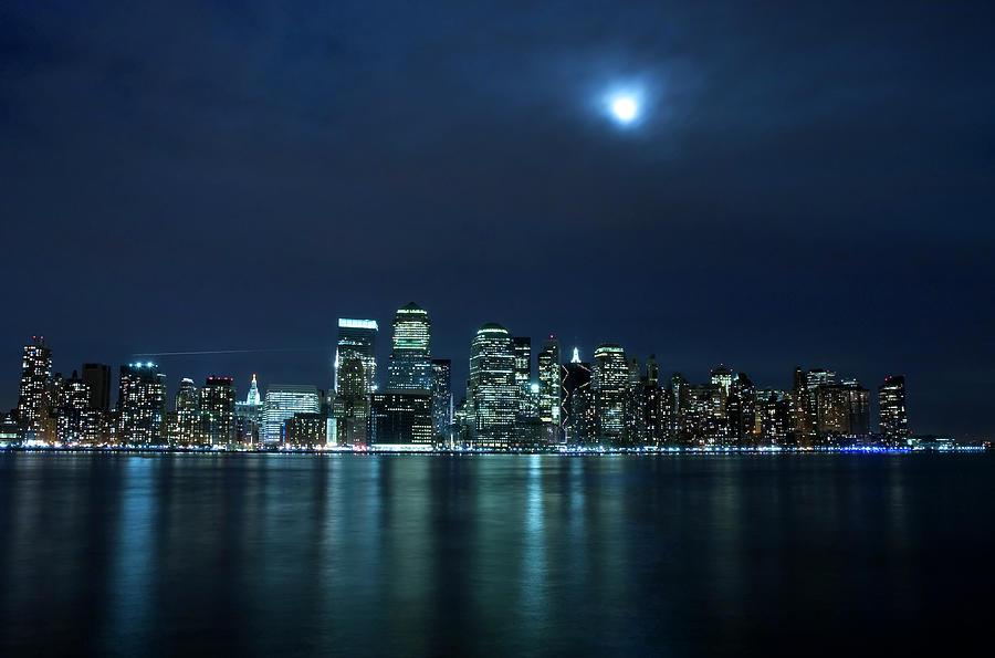 Moon Light Over New York City Photograph by Brandonj74