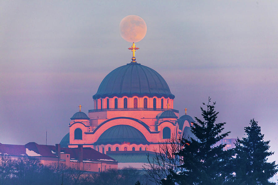 Moon Photograph - Moon on top of the cross of the magnificent St. Sava Temple in Belgrade by Dejan Kostic