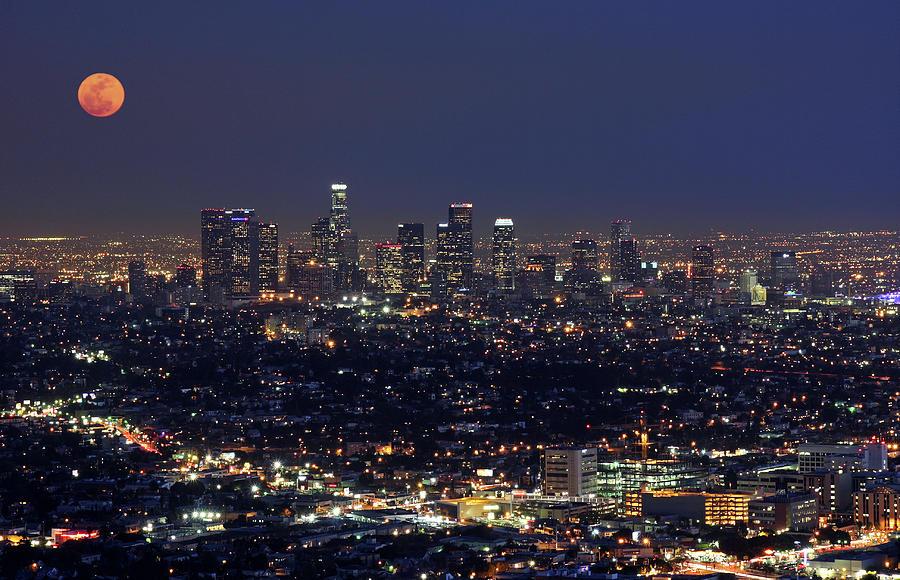 Moon Over Los Angeles Photograph by Sandra Kreuzinger