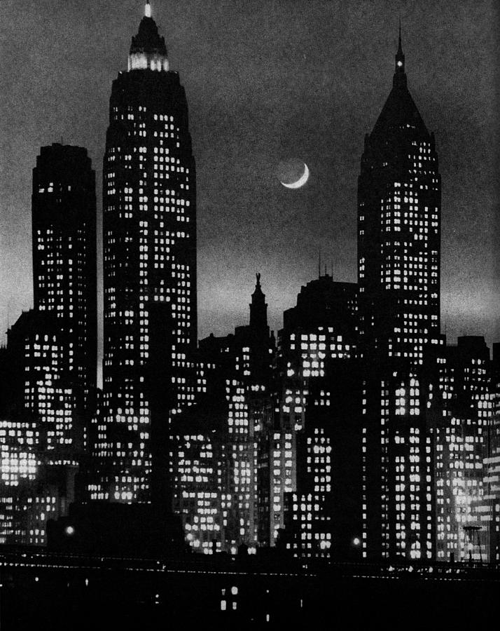Moon Over Manhattan Photograph by Andreas Feininger