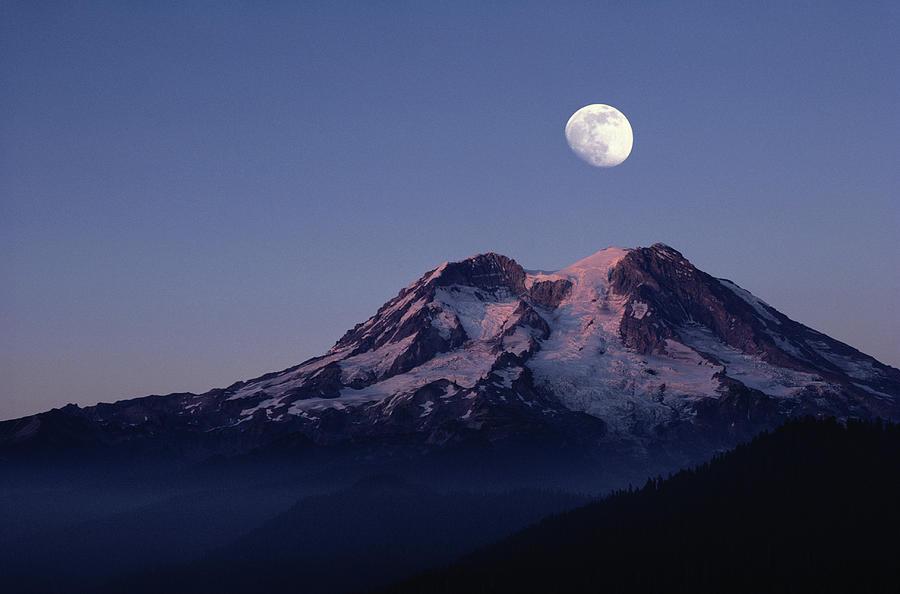 Moon Over Mount Rainier - Washington Photograph by Bruce Heinemann