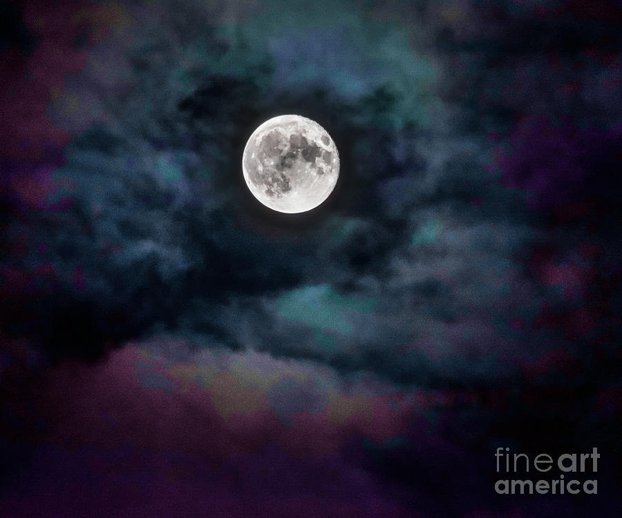 New Jersey Photograph - Moon Over My Town From My Backyard by Imma Barrera