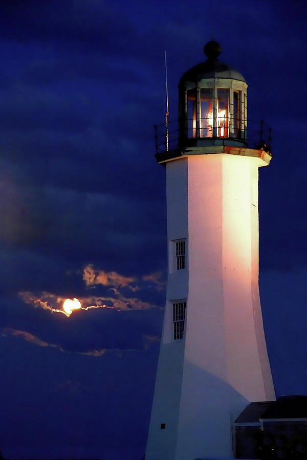 Moon over Scituate Light by Steven David Roberts