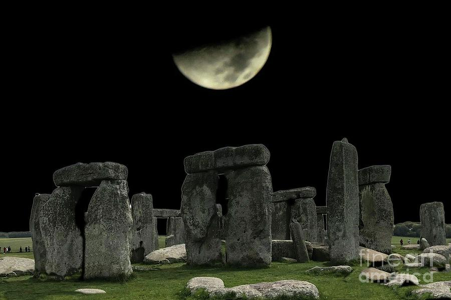 Moon over Stonehenge by Janette Boyd