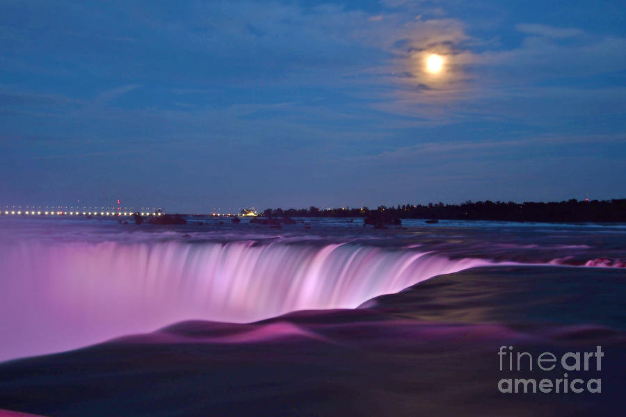 Moon Over The Horseshoe Falls July 16, 2019 by Sheila Lee