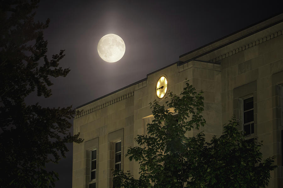 Moon over the Huron County Court House by Jay Smith