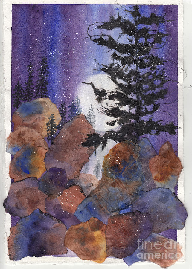 Moon Over The Mountains Mixed Media