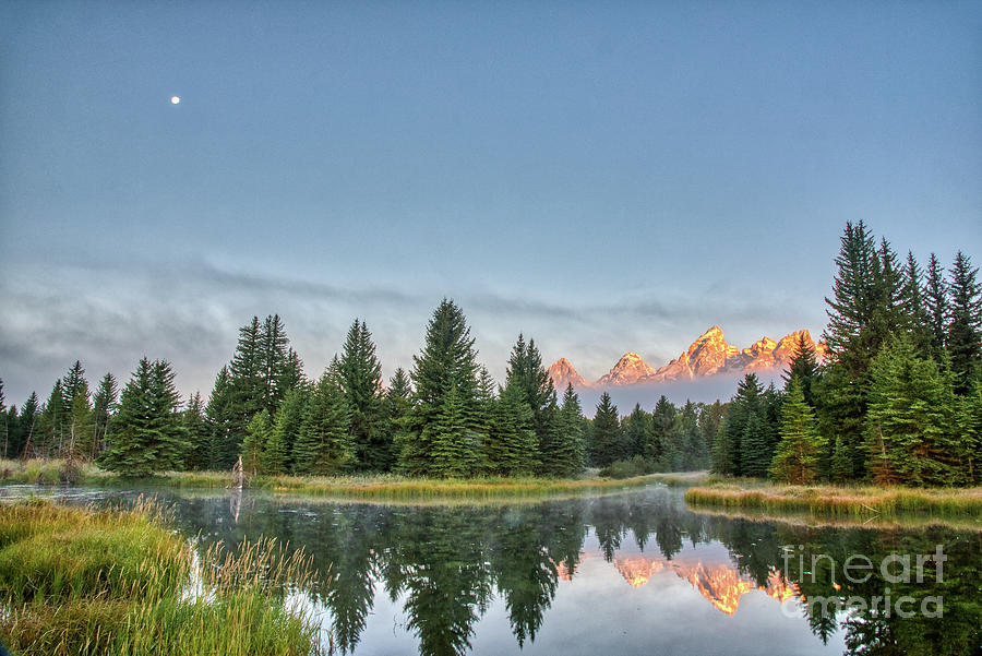 Moon Over The Tetons by Paul Quinn