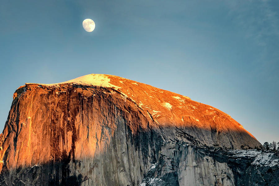 Moon Rise Over Half Dome Yosemite NP CA GRK1688_12192018  by Greg Kluempers