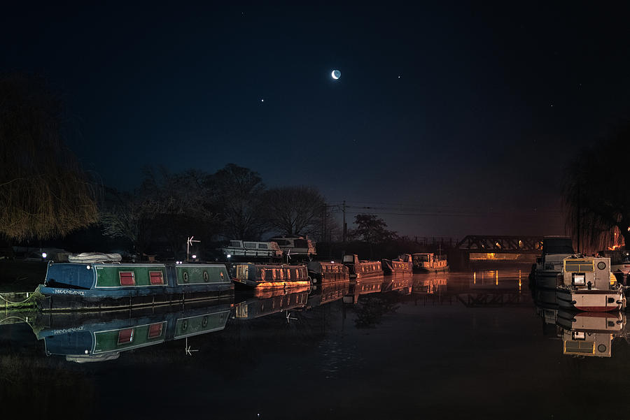 Moon, Venus and Jupiter over Ely Riverside by James Billings