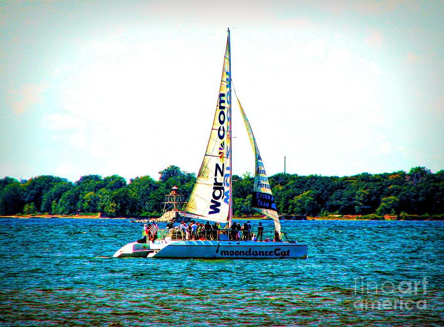 Moondance Cat Catamaran Buffalo New York Slight Abstract Special Effect by Rose Santuci-Sofranko