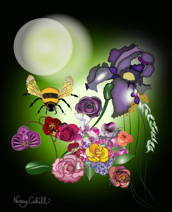 Moonflowers Digital Art by Nancy Cahill