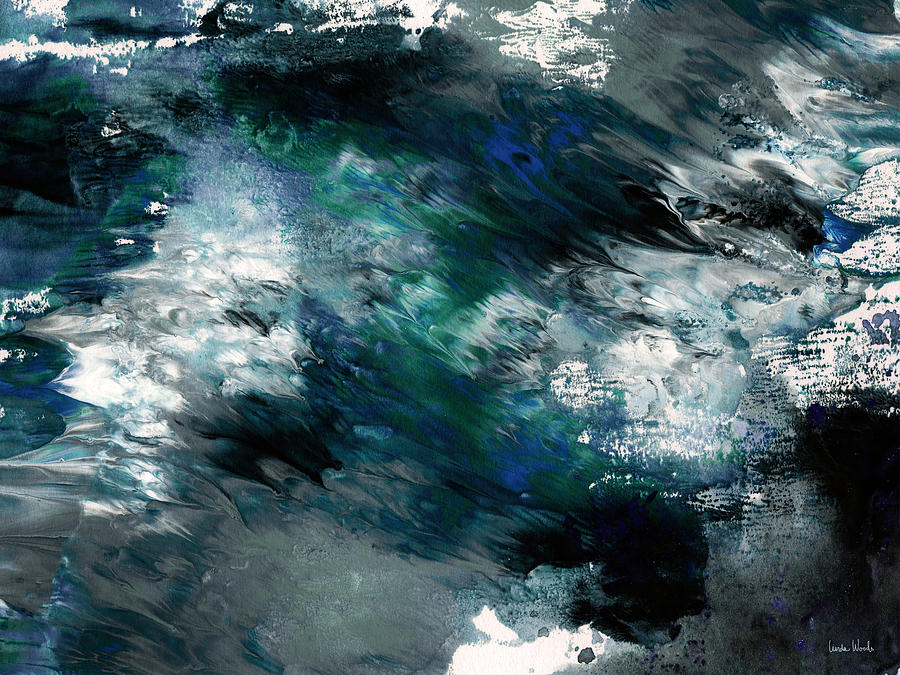 Abstract Painting - Moonlight Ocean- Abstract Art by Linda Woods by Linda Woods