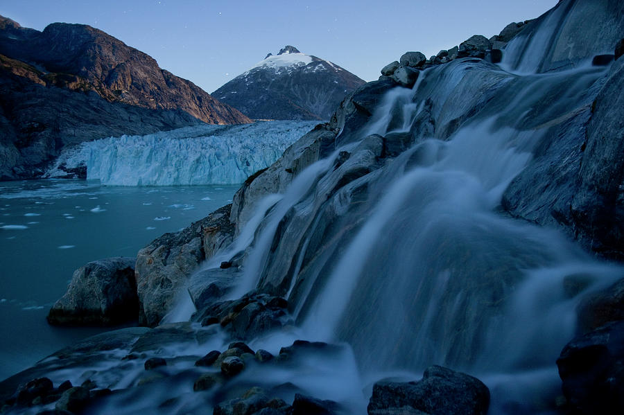Dawes Glacier Photograph - Moonlight On Dawes Glacier, Alaska by Paul Souders