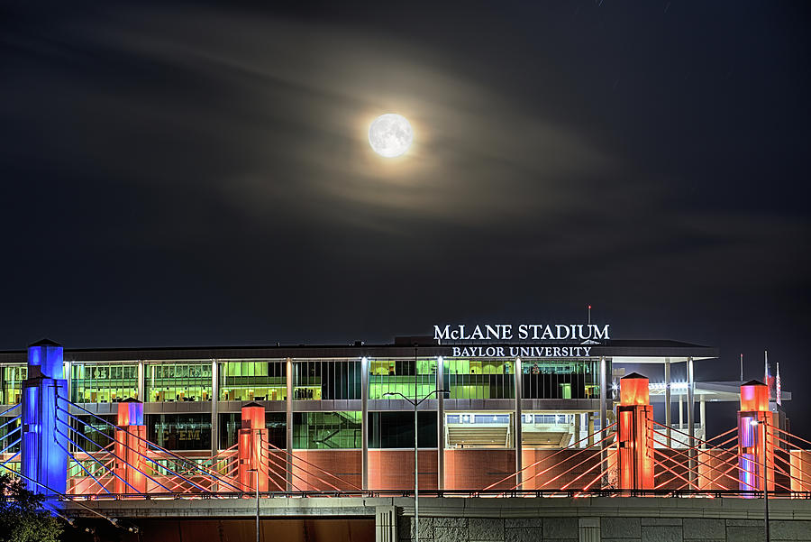 Waco Photograph - Moonlight Over Mclane Stadium by JC Findley