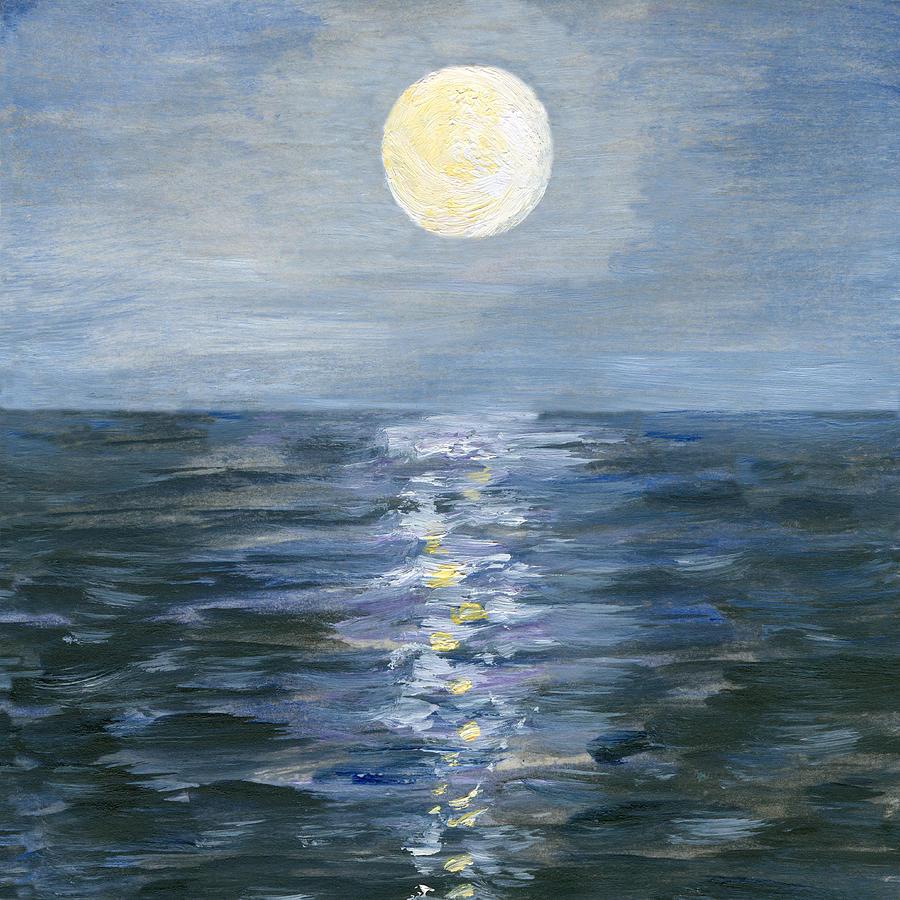 Moonlight Reflection In The Sea Digital Art by Mitza