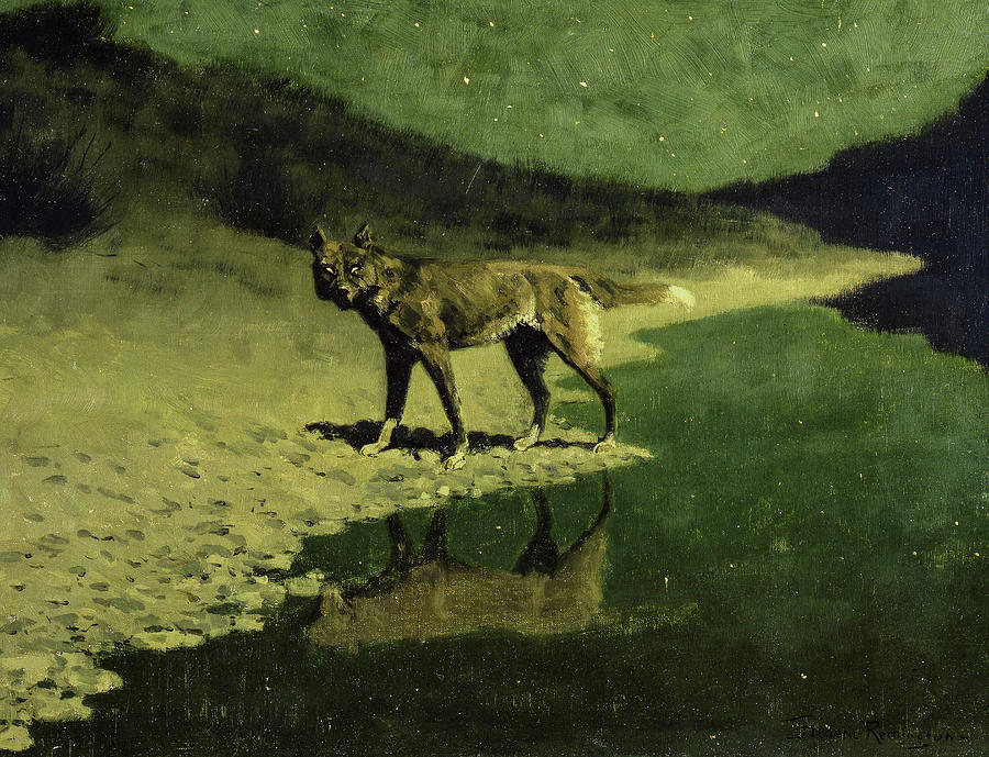 Frederic Remington Painting - Moonlight, Wolf, 1904 by Frederic Remington