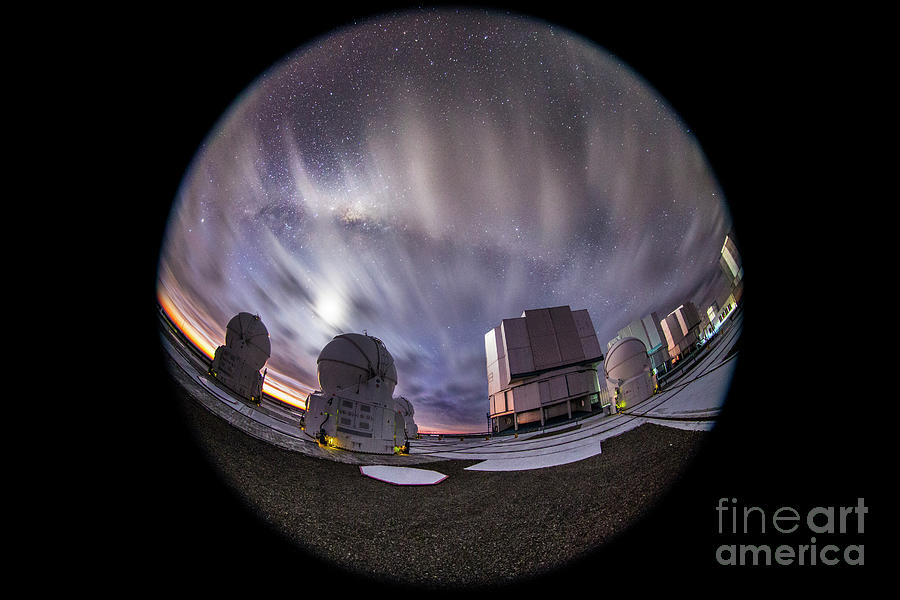 Very Large Telescope Photograph - Moonlit Clouds Over Vlt Telescopes by Miguel Claro/science Photo Library