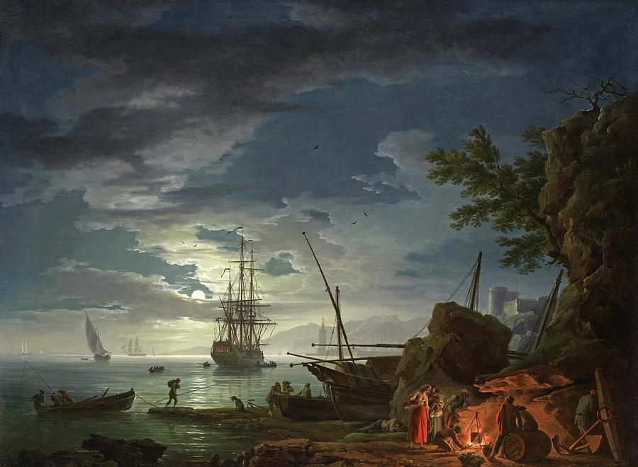 Claude-joseph Vernet Painting - Moonlit Seascape by Claude-Joseph Vernet