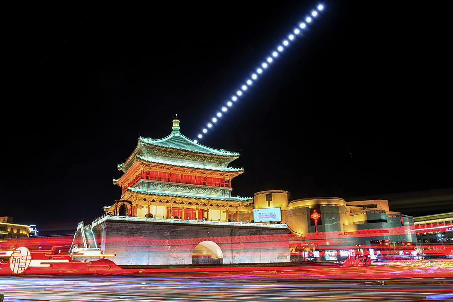 Moonrise Above Gulou Tower In Xian by Jeff Dai