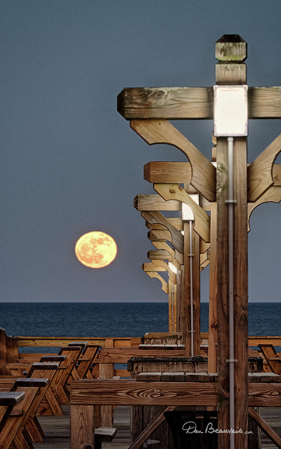 Moonrise at Kitty Hawk Pier 2871 by Dan Beauvais
