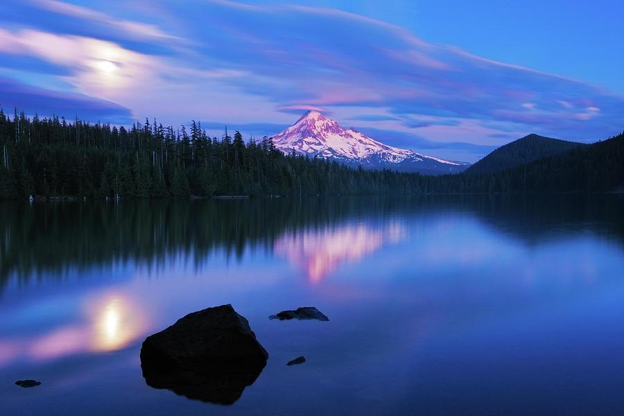 Moonrise At Lost Lake Photograph