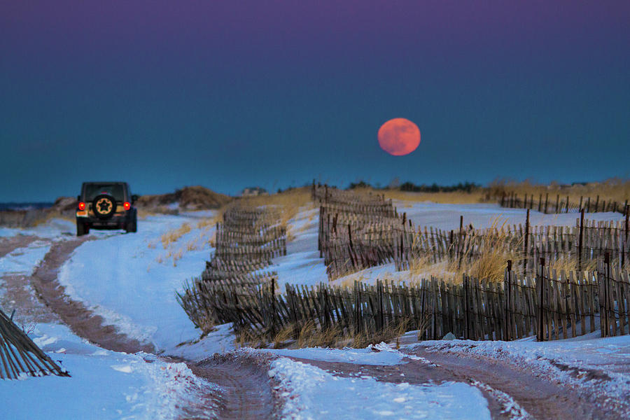 Moonrise Cupsogue Outer Beach by Robert Seifert