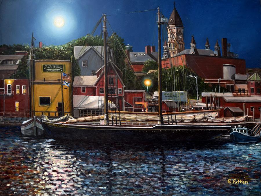 Moonrise, Gloucester Harbor by Eileen Patten Oliver