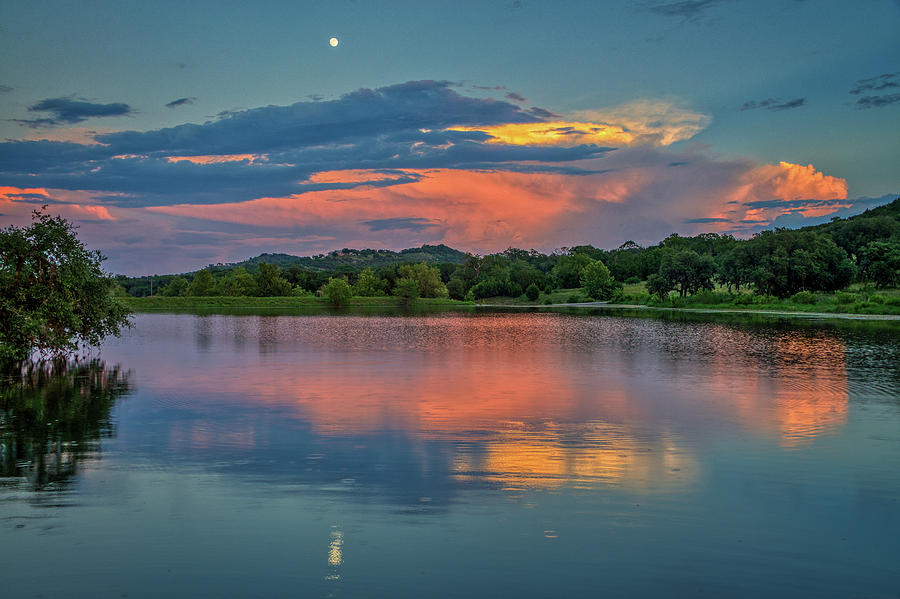 Moonrise Glow Over the Lake by Lynn Bauer