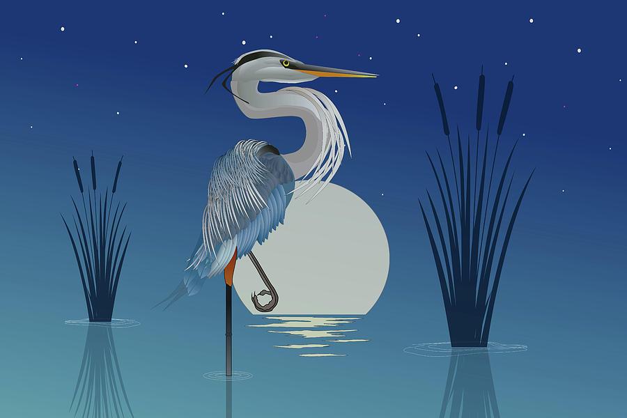 Moonrise Heron 2 by WiseWild57