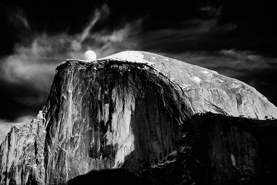 Moonrise Over Half Dome Yosemite NP CA BnW_GRK1643_12192018 by Greg Kluempers