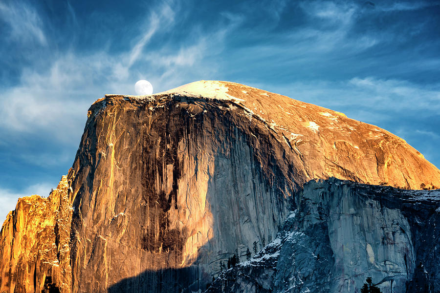 Moonrise Over Half Dome Yosemite NP CA_GRK1643_12192018  by Greg Kluempers
