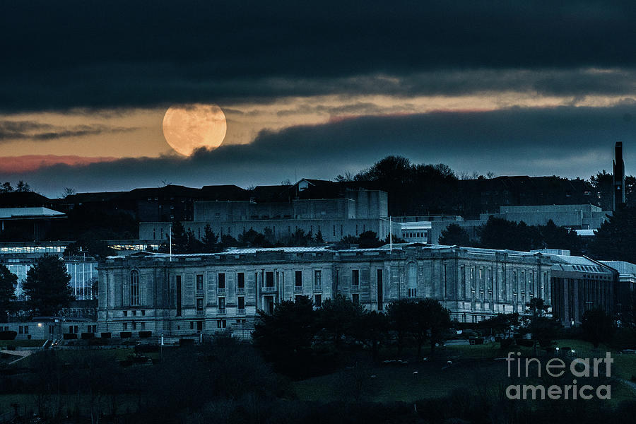 2019 Photograph - Moonrise Over The National Library Of Wales by Keith Morris
