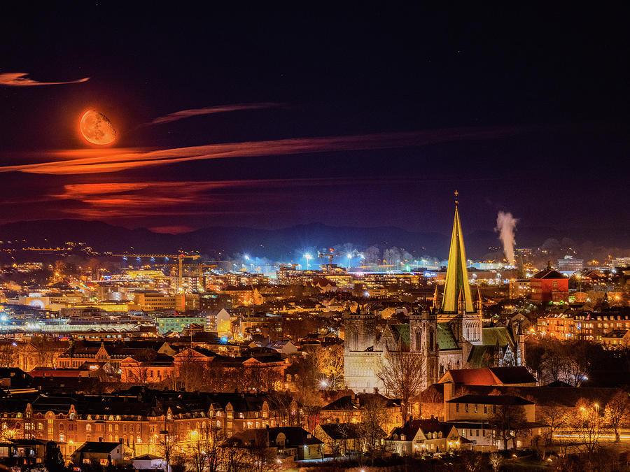 Moonrise Over Trondheim  by Aziz Nasuti