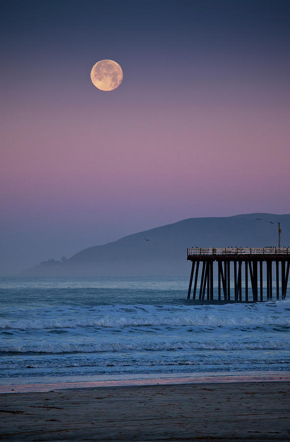 Moonset At Pismo Beach Photograph by Mimi Ditchie Photography