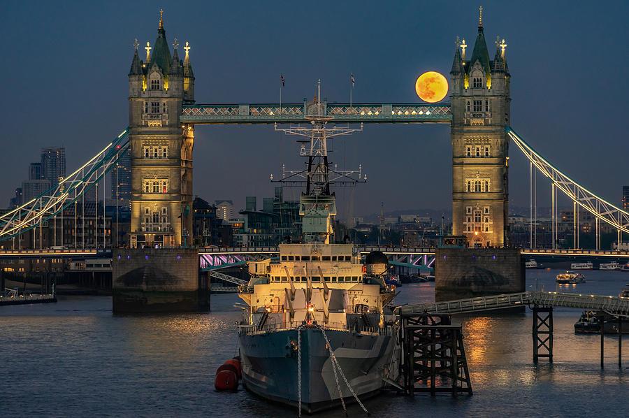 Moonrise At Tower Bridge In London Photograph