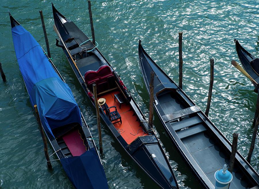 Moored Gondalas, Venice Photograph by Reggie Casagrande
