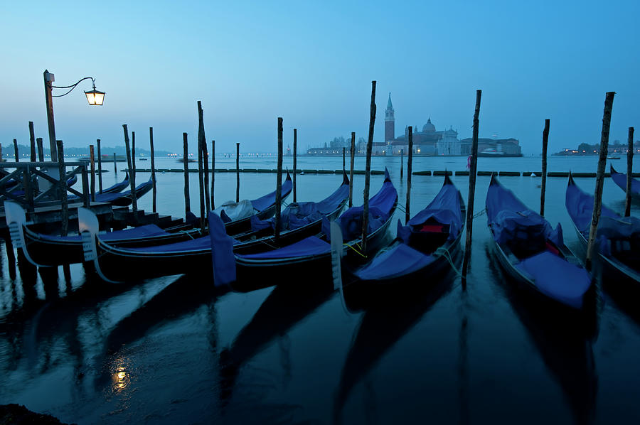 Moored Gondolas At Dawn On Grand Canal Photograph by Iain Masterton